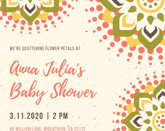 Printable Baby Shower Invitation–leaves–Gender Neutral–Custom Invite