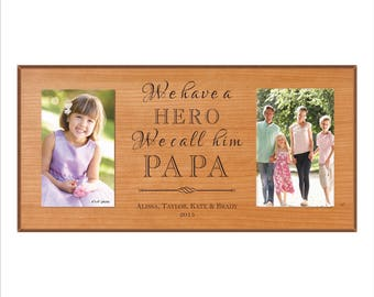 """Personalized Grandpa Frame, Double Frame for your Papa, Pawpaw, PapPap, """"We have a Hero, We call him Papa."""" Grandfather Frame"""