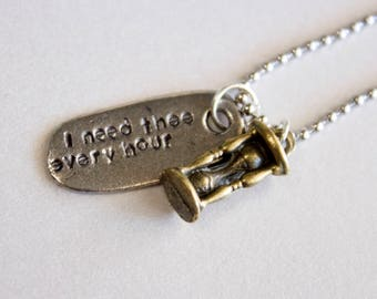 I Need Thee Every Hour - Hymn Hourglass Necklace