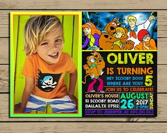 Scooby Doo Invitation * Scooby Doo Birthday Invite With Photo * Scooby Doo Birthday Party Chalkboard Invitations * Personalized * YOU PRINT
