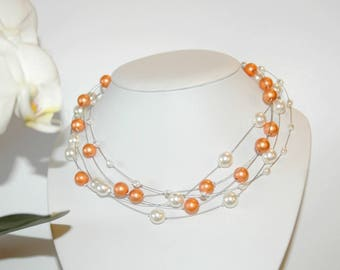 Ivory and orange cable wire necklace