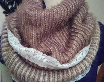 Acrylic, polyester and lace beige Snood