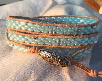 Beaded Leather Wrap Bracelet   Boho Bracelet   Three Wrap   Stacking Bracelet   Czech Beads Wrap   Women's