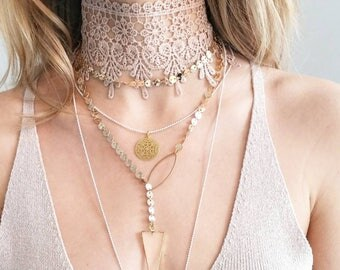 Pink lace choker, trendy lace choker necklace, beige lace choker, lace choker, lace bib necklace, pink necklace