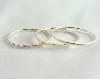 Set of 3 Hammered Sterling Silver Rings | Stacking Rings | Dainty | Thin | Handmade in Hawaii