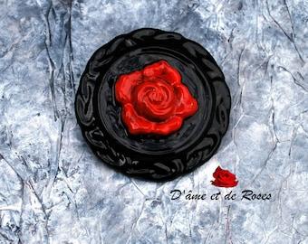 baroque round red rose brooch