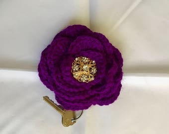 Purple Large Crochet Flower Key Ring or Planner/Purse Charm (1P)