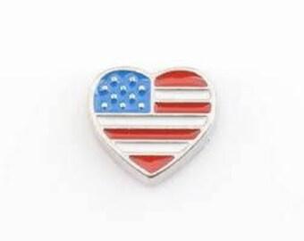 American Flag Heart Floating Charm