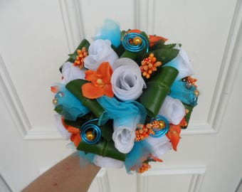 """""""Mona Lisa"""" - white turquoise and orange round bridal bouquet"""