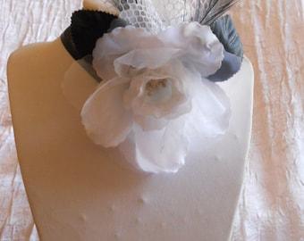 Ribbon black Wedding Flower necklace / white