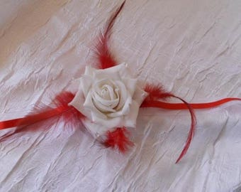 Bracelet Ribbon to tie red and white