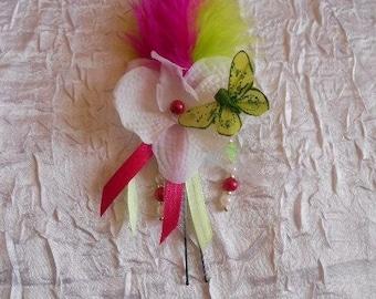 White fuchsia Orchid bun
