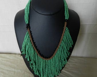"""Olive green """"Bamba"""" tribal beads necklace"""