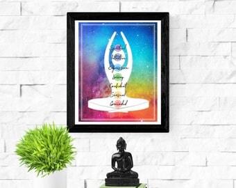 Chakra DIY Print | Seven Chakras Watercolor Art Print | Yoga Studio Art | Healing Art Gift  | Chakra Meditation | Spiritual Meditation
