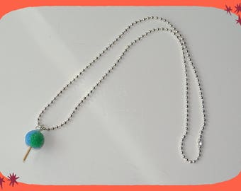 ball chain necklace with a green and blue chuppas