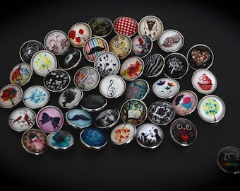 Lot 25 Cabochons 18mm for jewelry fancy pressure