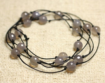 Long cotton and semi precious Agate gray Facettee necklace