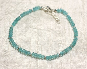 Bracelet 925 sterling silver and stone - Apatite faceted rondelles 3mm
