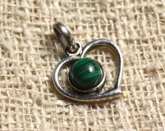 Pendant Silver 925 heart 16mm and semi precious - Malachite 6 mm