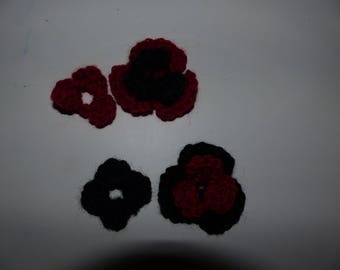 Set of four flowers red and black crochet