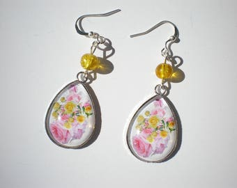 "Earrings silver plated cabochon, silver, cabochon ""pink and yellow bouquet"" on white background with glass bead"