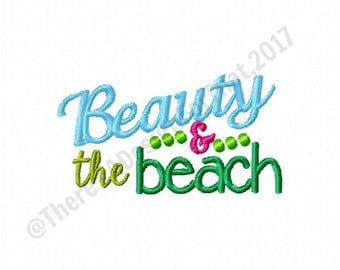 Beauty and the Beach embroidery design, beach embroidery design, summer embroidery design