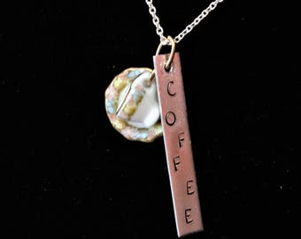 Coffee Time  18 in Necklace, Charm Necklace, Tea Cup Charm, Coffee Necklace, Hand-Stamped Necklace