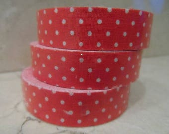 1 roll of adhesive fabric red with white dots 5 meters