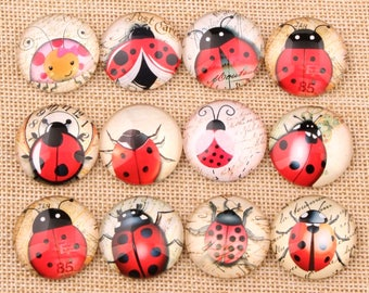 set of 12 ladybugs 12 mm cabochons