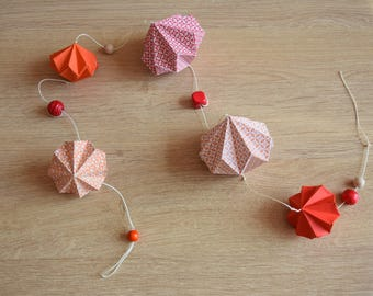 Diamonds origami decoration Garland wall red orange