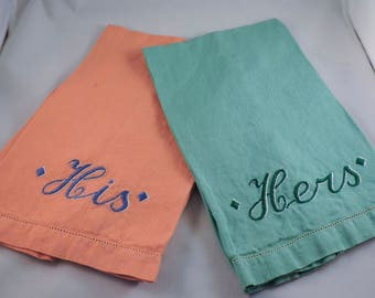 Vintage His and Hers Embroidered Linen/Cotton hand towels, set of two