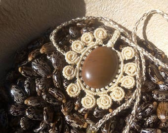 lace necklace with a genuine chocolate Jasper