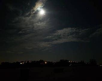 Bright Moonlight Nighttime Moon Clouds Sky Photo Print Nature 5x7 4x6