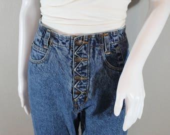 90s mom jeans/waist 28 / Legends brand acid wash, high waisted, tapered leg