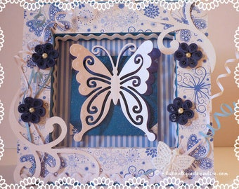 Embellishment: butterfly and flowers card frame