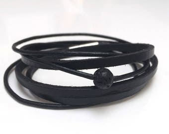 Mens black leather bracelet, lava stone, stainless steel clasp.