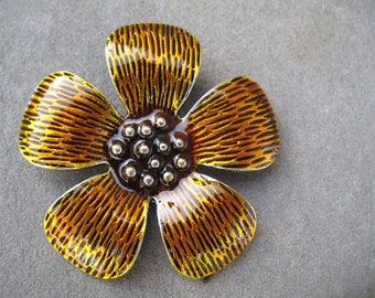 Large flower enameled pendant yellow 5.5 cm