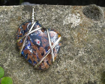Glass millefiori heart pendant