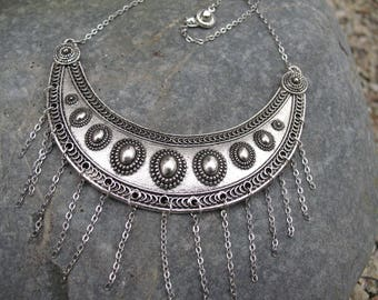 Stainless steel and silver bib necklace