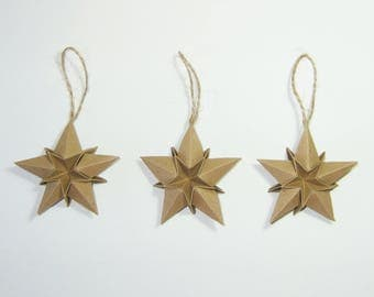 "Set of five deco Origami stars ""green"" Christmas"
