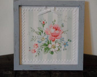 Frame shabby chic blue / floral decor