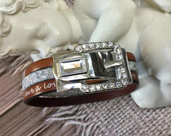 Gift for woman with a jewel rhinestone silver and Brown Leather Buckle Bracelet