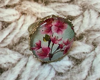Round silver cherry blossom ring