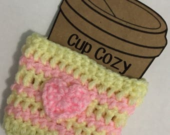 Yellow and Pink Heart Cup Cozy