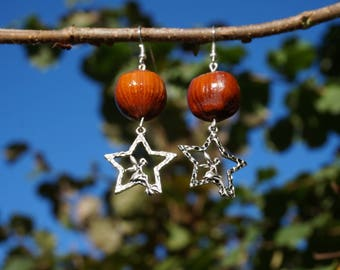 fairy in a Silver earrings with natural hazelnuts on Star