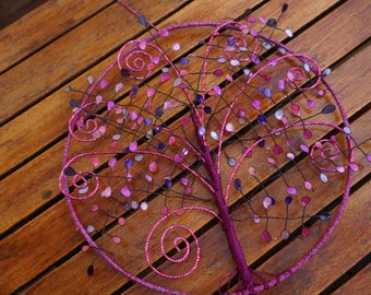 tree of life entirely hand made, purple and pink