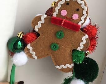 Festive Gingerbreadman pompom headband