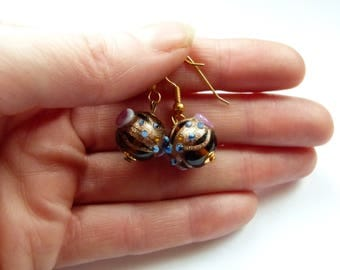Light brown Venetian glass dangle earrings, Venetian glass dangle earrings, Murano Glass earrings, Handmade earrings, Glass earrings