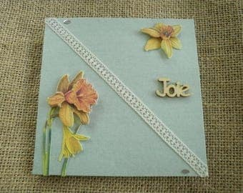 "Double square card, green water color, message ""joy"", daffodils decorations + matching envelope"