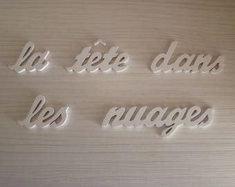the head in clouds phrase wooden mdf painted white